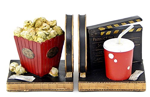Decorative Bookends Popcorn Soda Movie Reel - Movie Ticket Bookends (Popcorn Room Decor compare prices)