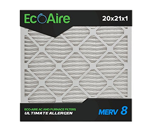 Eco-Aire 20 x 21 x 1 Premium MERV 8 Pleated Air Conditioner Filter, 6 Pack