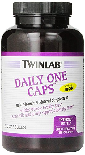 Twinlab Daily One Multi-Vitamin And Multi-Minerals Capsules Without Iron, 216 Count