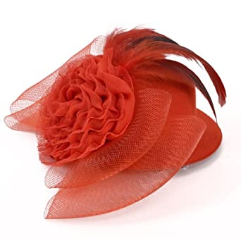 8'' X 2-1/2'' Fascinator Mini Top Hat Scarlett Red