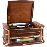 Majestic/Audiola TT34 - Chaîne stéréo style rétro avec platine vinyle, lecteur CD, K7 et port USB pour MP3 (AUX, sortie jack casque)