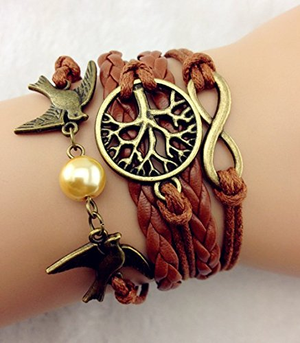 Vintage Style Brown Leather Rope Bronzed Love Birds Pearl Tree Branch Infinity Love Bracelet