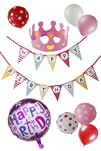 MOMO shop お誕生日 会 バースデー カラフル 飾りつけ セット ( フラッグ ガーランド 、王冠 、 アルミバルーン、 風船 ) (ピンク系)