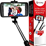 Selfie Stick, Monopod with Bluetooth + FREE Wrist Strap - Black [STAINLESS STEEL]