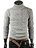 (アルファーフープ) α-HOOP メンズファッション きれいめ ハイネック セーター カジュアル ストリート 長袖 丸首 トップス M ~ XXL 大きいサイズ も SET1 (06.ライトグレー(Mサイズ))