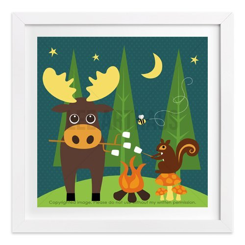 216 - Moose and Squirrel Camping Owl Wall Art Print by Lee ArtHaus - One UNFRAMED Print