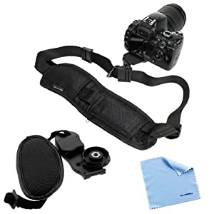 GTMax Quick Release Neck Strap + Professional Wrist Grip Strap + Cleaning Cloth for Canon PowerShot SX50 HS, SX500 IS, EOS 6D, 60D, T3, T3i, T4i; Nikon D3100, D5100