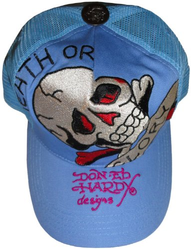 Men's Ed Hardy Hat Ball Cap Death or Glory Blue