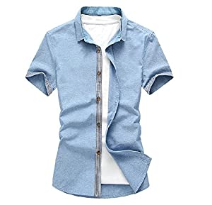 Free2mys men 39 s wrinkle free short sleeve linen shirt blue for Wrinkle free dress shirts amazon