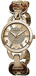 Akribos XXIV Women's AK699YG Lady Diamond Swiss Quartz Gold-tone and Tortoise Bracelet Watch