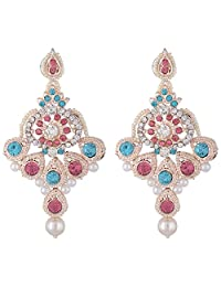 Bel-en-teno Pink & Blue Alloy Earring Set For Women - B00PY9XM1G