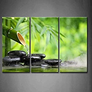Fashion stylish 3 panel wall art green spa for Deco mural zen