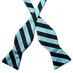 100% Premium Silk Handmade Mens Black and Turquoise Blue Stripe Self Tie Bow Tie