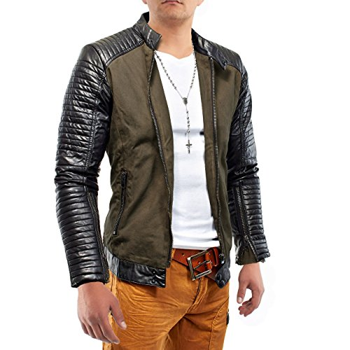 Mens Leather Jacket Hells Diavolo biker in pelle foderata ID1171, Größe Jacke:L
