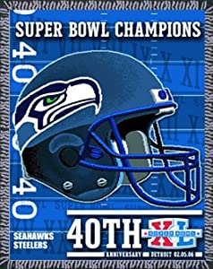 SEATTLE SEAHAWKS SUPER BOWL XL CHAMPS THROW BLANKET Rug Superbowl XL