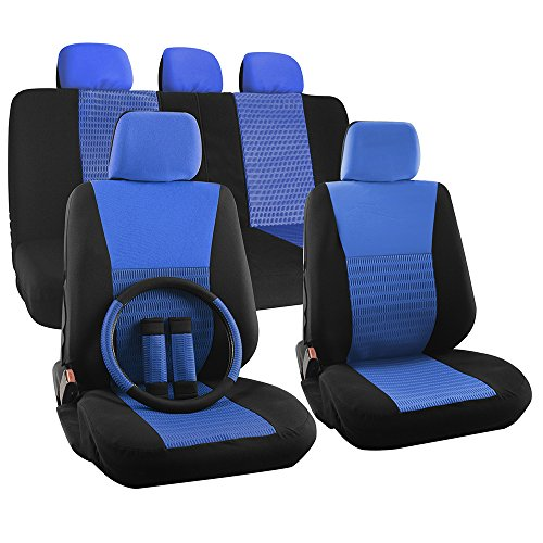 OxGord 17pc Set Flat Cloth Mesh Blue & Black Wide Stripe Seat Covers Set - Airbag Compatible - Front Low Back Buckets - 50/50 or 60/40 Rear Split Bench - 5 Head Rests - Universal Fit for Car, Truck, Suv, or Van - FREE Steering Wheel Cover (Blue Car Seat Covers For A Sedan compare prices)