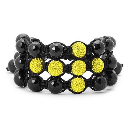 3 ROW Lemonade Yellow Swarovski Crystal Cross Beads Jabari Bracelet