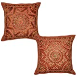 Handmade Ethnic Mirror Work Design Cotton Pillow Cushion Cover 16 X 16 Inches Set Of 2 Pcs