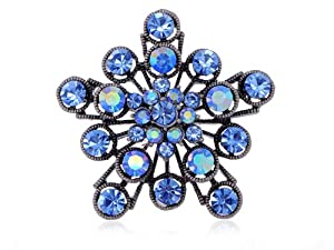 Sapphire Crystal Rhinestone 2 Layer Filigree Flower Starburst Fashion Pin Brooch