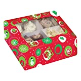 Christmas Print Cupcake Box w/Window