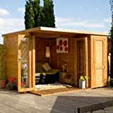 10ft x 8ft Contemporary Shiplap Pent Wooden Garden Summerhouse - Brand New 10x8 Tongue and Groove Corner Wood Summerhouses