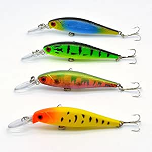 4pcs lot minnow fishing lures dive beads hard for Amazon fishing lures