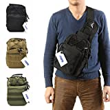 FAMI Outdoor Tactical Shoulder Backpack, Military & Sport Bag Pack Daypack for Camping, Hiking, Trekking, Rover Sling - Army Green