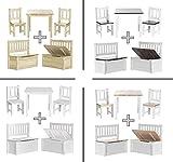 Impag Kindersitzgruppe aus europäischem Kiefer Massivholz 1 Tisch, 2 Stühle, 1 Truhenbank mit Deckelbremse Anni