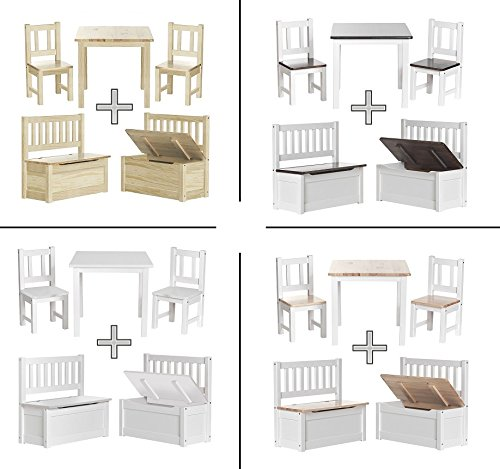 impag kindersitzgruppe aus europ ischem kiefer massivholz 1 tisch 2 st hle 1 truhenbank mit. Black Bedroom Furniture Sets. Home Design Ideas