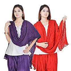 Kalrav Solid Purple and Red Cotton Dupatta Combo