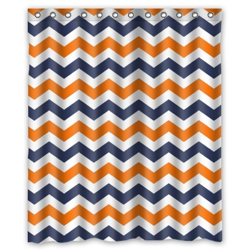 Navy Deep Blue Orange Chevron