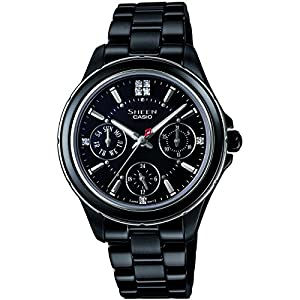 Casio SHE-3508B-1AUER Ladies Sheen Black Steel Bracelet Watch