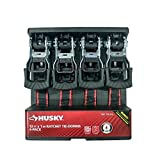 Husky 12 FT x 1 IN Ratchet Tie-Downs 4 Pack by Husky (Color: Black, Tamaño: Medium)