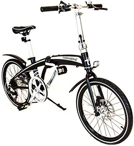 """NERO TRAKBIKE CITY - 20 """"in alluminio compatto pieghevole 7 VELOCITA 'SHIMANO bici della bicicletta"""