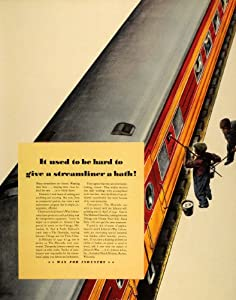1941 Ad S.C. Johnson Wax Haiwatha Train Car Cleaning - Original Print Ad