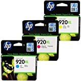 HP Officejet 920XL 3 Inkjet Ink Cartridge Colour Combo Value Pack - Cyan Magenta Yellow Easy Mail - Multipack Cartridges