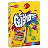 Betty Crocker, Fruit Gushers Fruit Flavored Snacks, Variety Pack (Strawberry Splash, Watermelon Blast, Tropical Flavors), 6-count Pouches (Pack of 4)