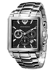 Emporio Armani Quartz Black Dial / Silver Men's Watch AR0659