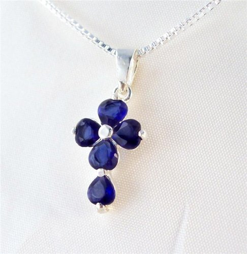 Birthstone September Sapphire Hearts Sterling Cross Necklace, 18