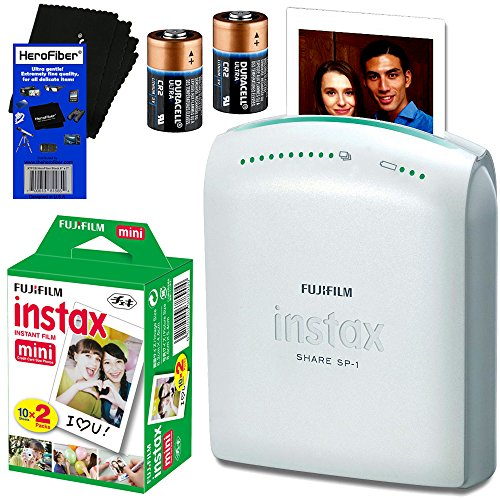Fujifilm-Instax-Share-SP-1-Smartphone-Printer-Fujifilm-Instax-Mini-Instant-Film-20-sheets-2-CR2-Lithium-Replacement-Batteries-HeroFiber-Ultra-Gentle-Cleaning-Cloth