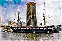Original Baltimore Art, U.S. Constellation Docked At Baltimore Trade Center, Inner Harbor