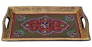 Items on Sale SouvNear Handmade Wooden Decorative Tray - 16 x 10 Inch Antique-Look Hand-Painted Wood Tray - Centrepiece for Table - Kitchen & Table Decor Accessories
