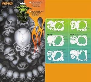 Devilbiss Dager Airbrush Stencils - 6-Pack O'Skullz Set 1
