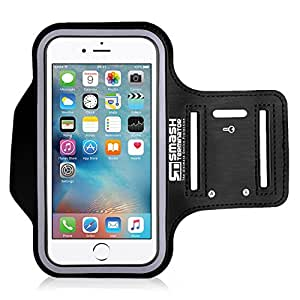 Smash Terminator® Sports Running Jogging Gym Exercise Running Armband Arm Band Case Cover Holder For iPhone 6 and 6S. Made from Premium Neoprene Lycra, Sweat proof Layer, Reflective Strip and Key Slot by AllThingsAccessory® (