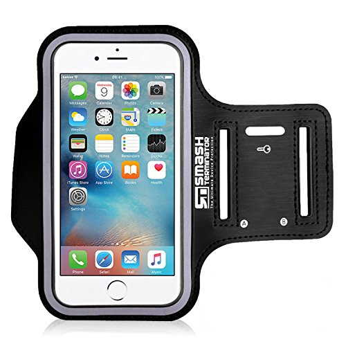 Smash Terminator® Adjustable Neoprene Sports Running Jogging Gym Armband Arm Band Case Cover Holder For Apple iPhone 6 5 5S 5C 4S 4 with Key Holder As Seen in Runners World Magazine by AllThingsAccessory® (Black, iPhone 6)