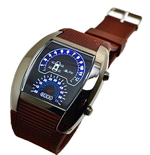 one Horseman(ワンホースマン) 選べるベルトカラー 防水 LED デジタル 腕時計 スピードメーター 風 デザイン (ブラウン)