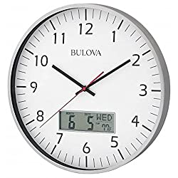 Bulova C4810 Wall Clock Quiet Sweep Seconds Hand With Date & Temperature