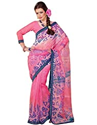 Anvi Creations Supernet Cotton Printed Pink Saree (Pink_Free Size)