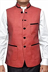 Adam In Style Light Maroon Poly Cotton Jacket For Men (Size: 38)