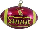 USC Trojans Football Blown Glass Ornament